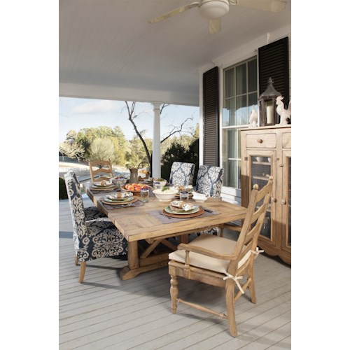 Kincaid Furniture Homecoming 7 piece Set with Refectory Trestle Table and Slipcover Chairs