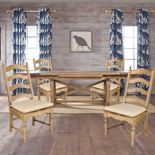 Kincaid Furniture Homecoming Five-Piece Refectory Table & Ladderback Side Chairs with Tie Cushion Seats Set