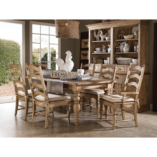 Kincaid Furniture Homecoming 7 Piece Dining Set With Farmhouse Leg Table And Ladderback Chairs