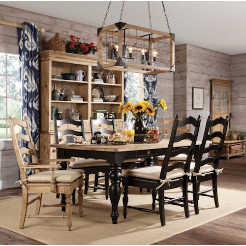Kincaid Furniture Homecoming 7 piece Dining Set with Farmhouse Leg Table & Ladderback Chairs