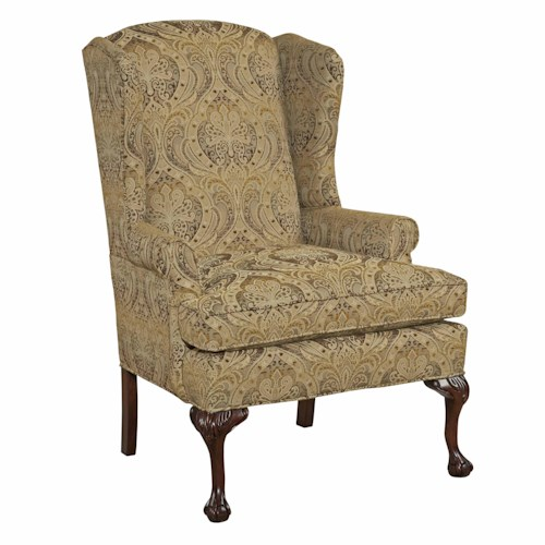 Kincaid Furniture Accent Chairs Wingback Accent Chair with Claw Feet