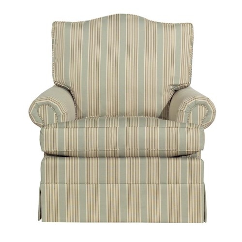 Kincaid Furniture Accent Chairs Rolled Arm Skirted Accent Chair