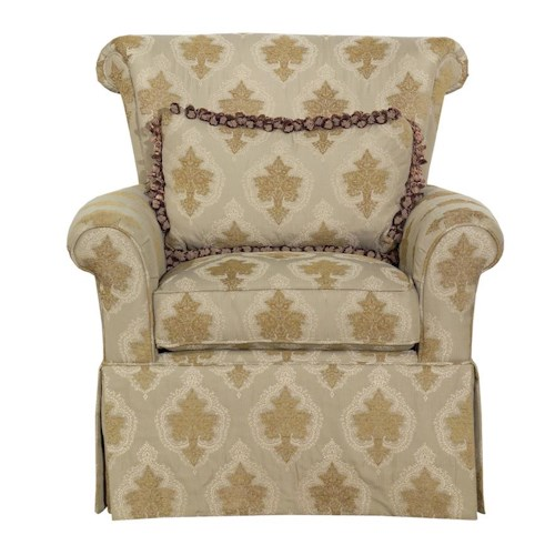Kincaid Furniture Accent Chairs Rolled Arm Chair with Skirt