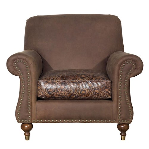 Kincaid Furniture Accent Chairs Rolled Arm Accent Chair with Nailhead Trim