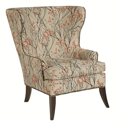 Kincaid Furniture Accent Chairs Denton Accent Chair With Wide Flared Back And Nailhead Trim