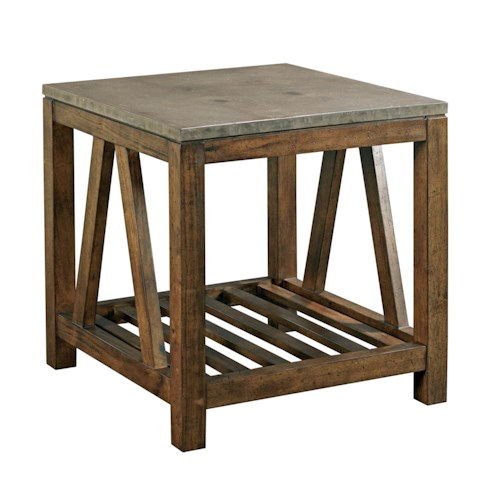 Kincaid Furniture Mason Industrial Rustic End Table with Finished Concrete Top