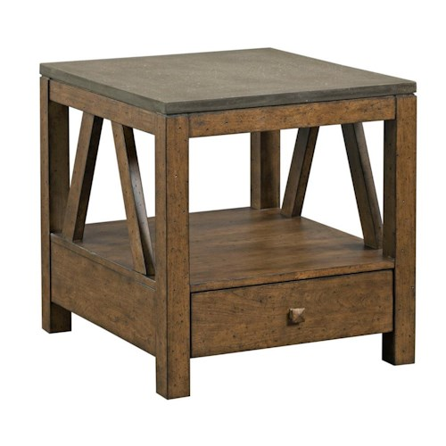 Kincaid Furniture Mason Industrial Rustic End Table with Drawer and Finished Concrete Top