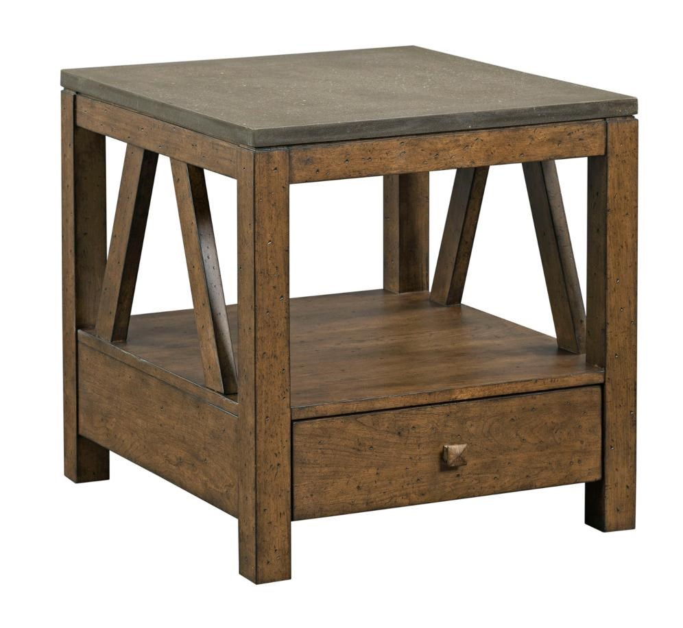 Mason Industrial Rustic End Table With Drawer And Finished Concrete Top By  Kincaid Furniture