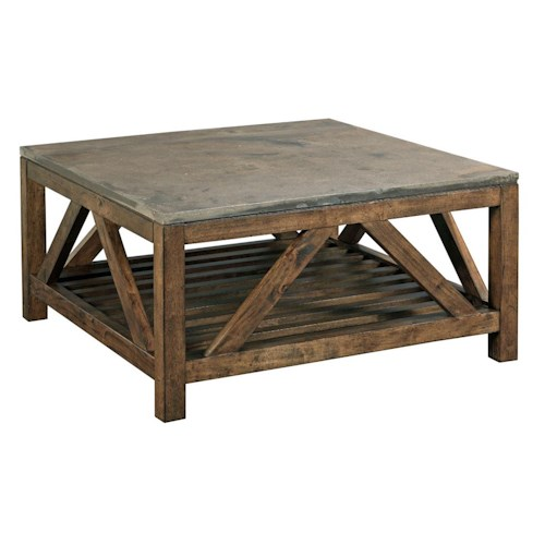 Kincaid Furniture Mason Industrial Rustic Square Cocktail Table with Finished Concrete Top