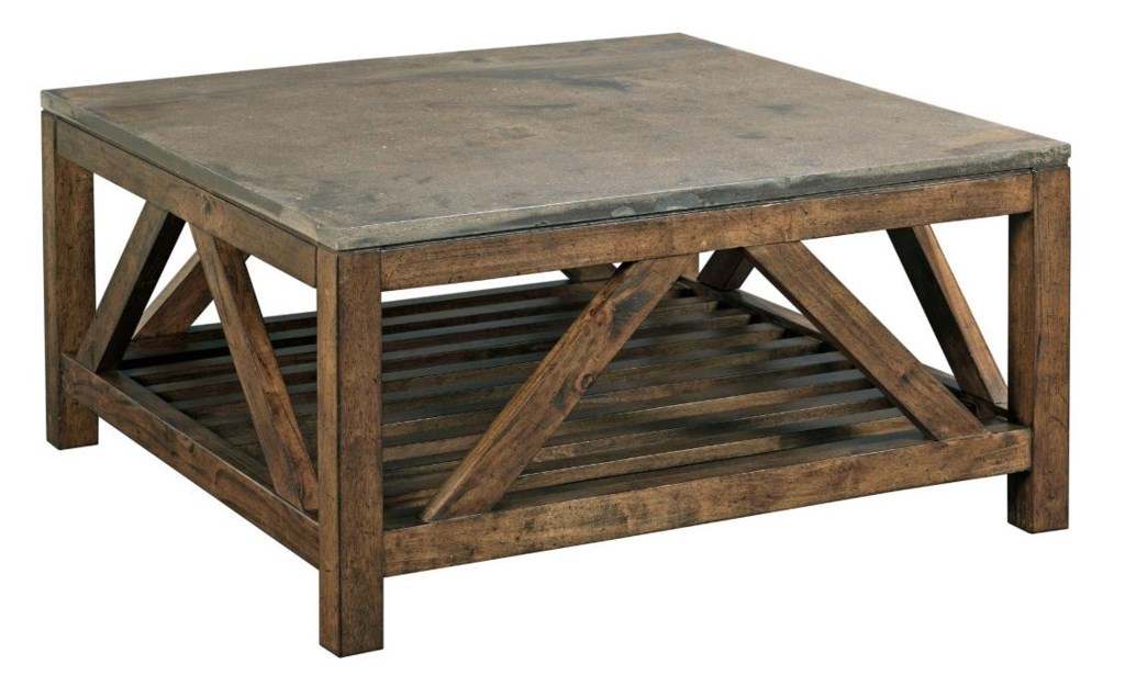 Kincaid Furniture Mason Industrial Rustic Square Cocktail Table With