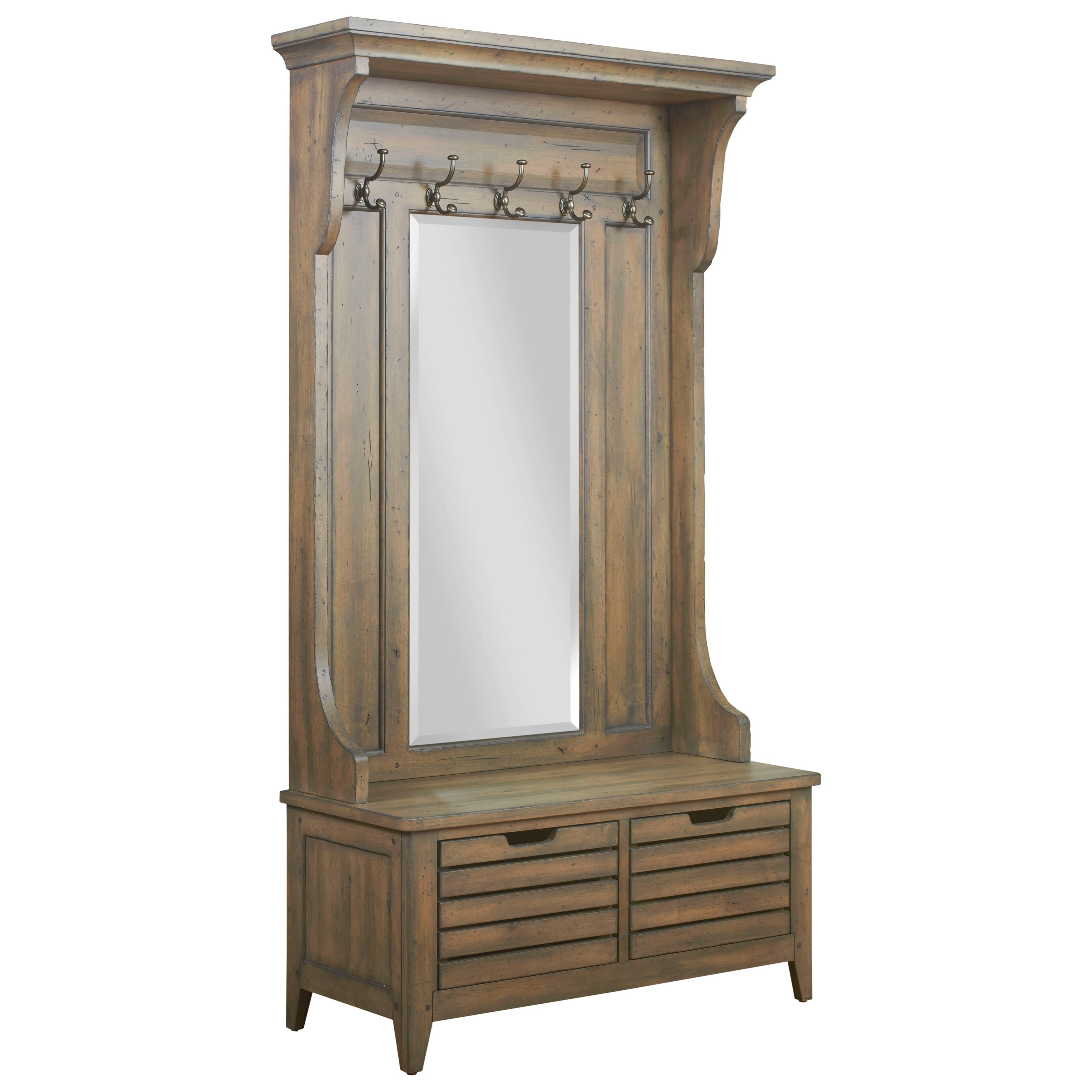 Warren Solid Wood Hall Tree with Mirror