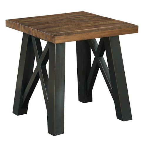 Kincaid Furniture Modern Classics Occasional Tables Crossfit End Table with Solid Acacia Top and Rustic Metal Base