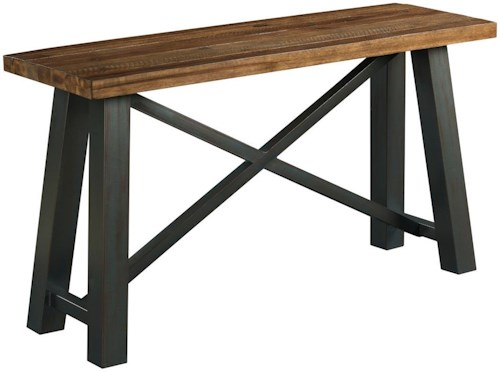Kincaid Furniture Modern Classics Occasional Tables Crossfit Sofa Table with Solid Acacia Top and Rustic Metal Base