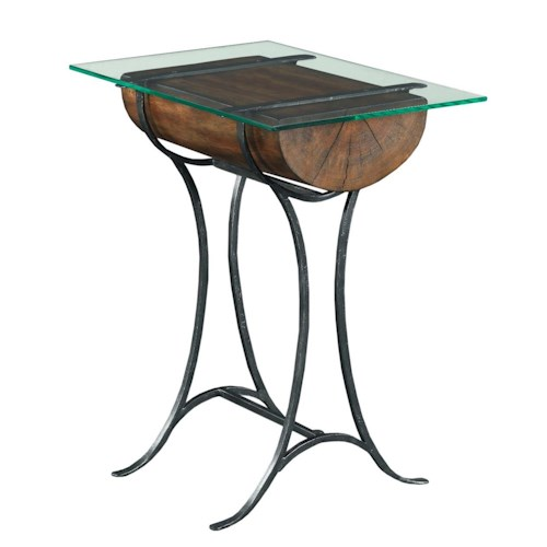 Kincaid Furniture Modern Classics Occasional Tables Rustic Log Chairside Table with Tempered Glass Top