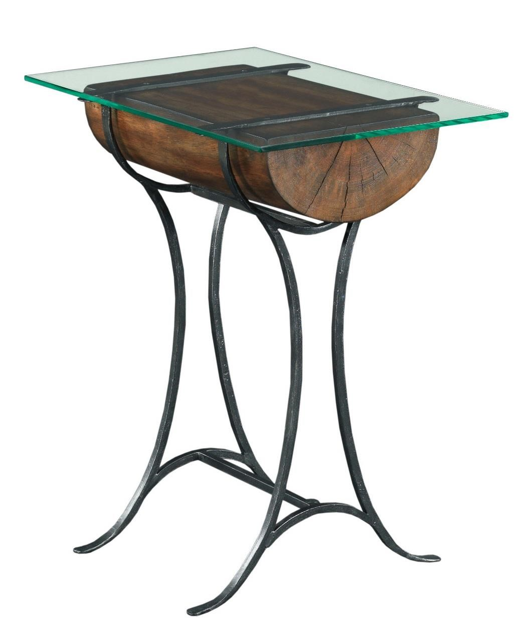 Kincaid Furniture Modern Classics Occasional Tables Rustic Log Chairside  Table With Tempered Glass Top   Becker Furniture World   End Table