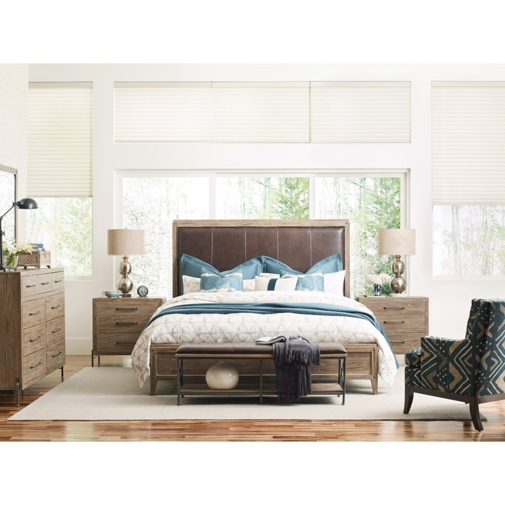 Kincaid Furniture Modern Forge Taylor Leather Bed Bench With Solid Wood Shelf Howell Furniture Upholstered Benches