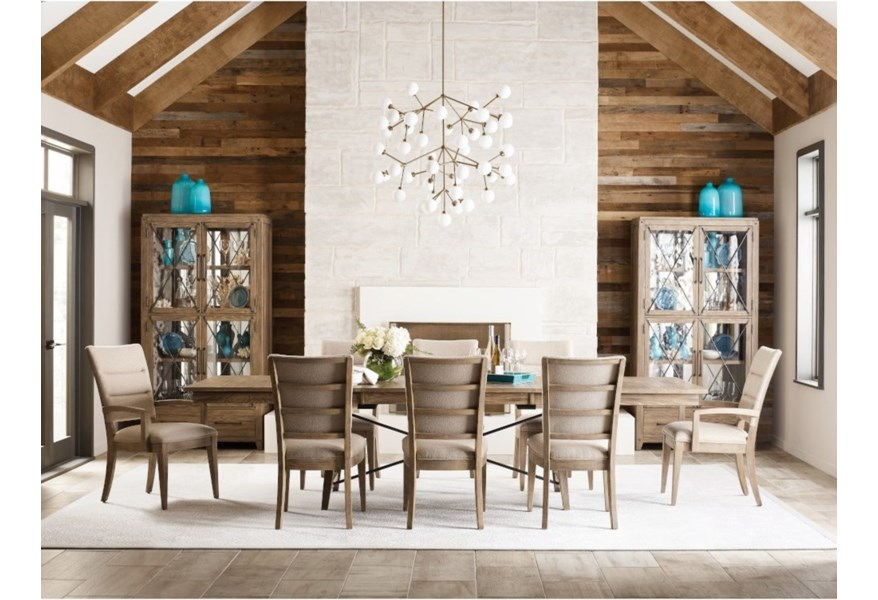 Modern Forge 9 Piece Laredo Dining Set With Upholstered Chairs Stoney Creek Furniture Dining 7 Or More Piece Sets