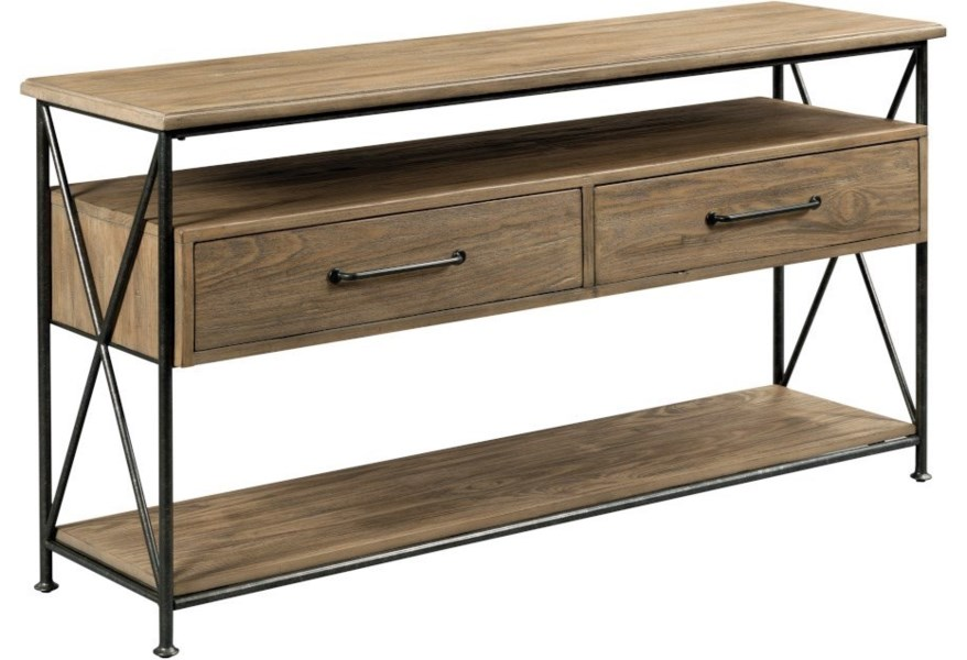 Kincaid Furniture Modern Forge 944 925 Modern Rustic Solid Wood Sofa Table With 2 Drawers Northeast Factory Direct Sofa Tables Consoles