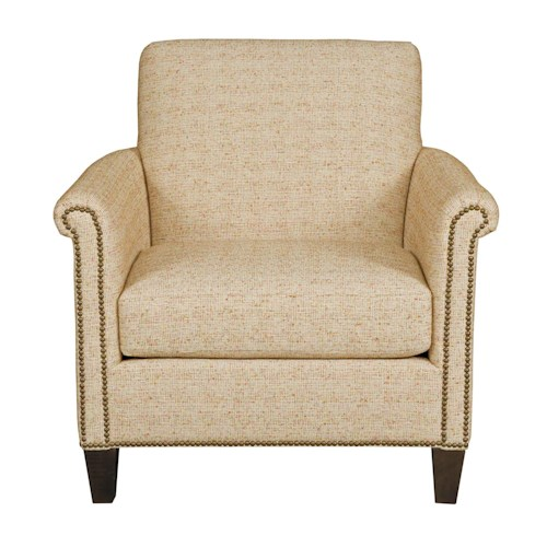 Kincaid Furniture Modern Select Customizable Chair with Rolled Panel Arms and Wood Base