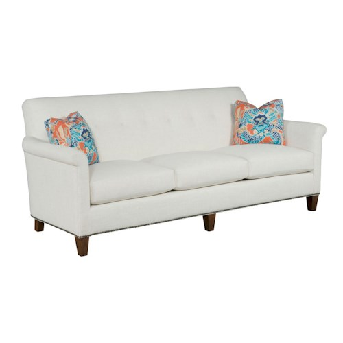 Kincaid Furniture Modern Select Customizable Button-Tufted Grand Sofa with Panel Arms and Nailhead Trim