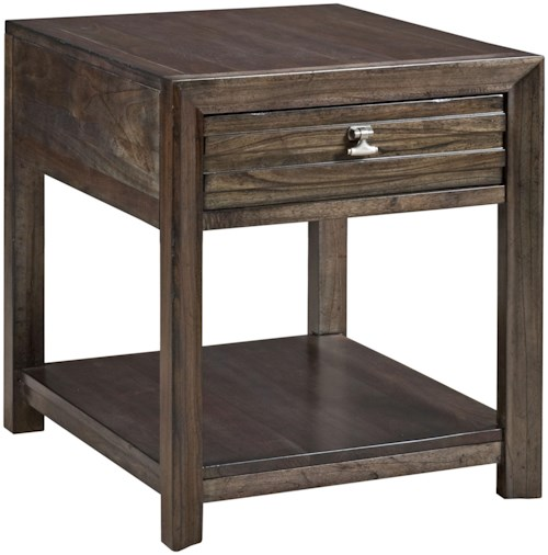 Kincaid Furniture Montreat Contemporary Montreat End Table with Grooved Mouldings and Storage