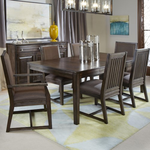 Kincaid Furniture Montreat Seven Piece Formal Dining Set with Upholstered Chairs