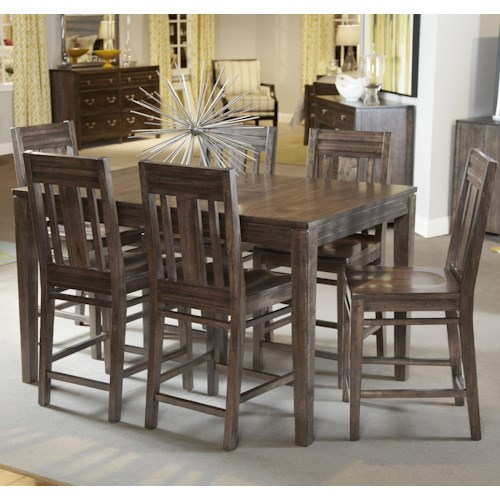 Kincaid Furniture Montreat Seven Piece Casual Counter Height Dining Set