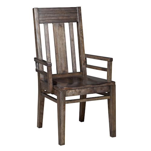 Kincaid Furniture Montreat Contemporary Slat-Back Arm Chair with Grooved Mouldings