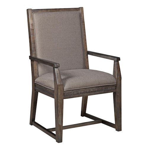 Kincaid Furniture Montreat Contemporary Upholstered Arm Chair with Tapered Legs and Slat-Back Detail
