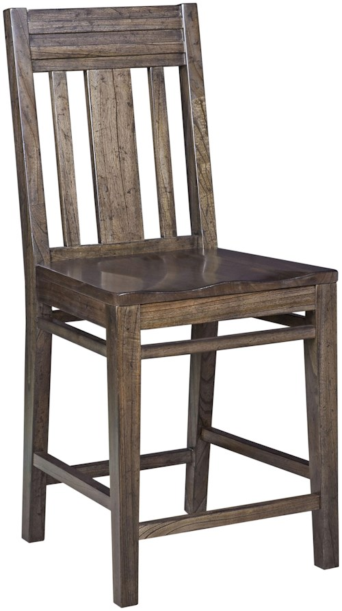 Kincaid Furniture Montreat Contemporary Solid Wood Slat-Back Bar Stool