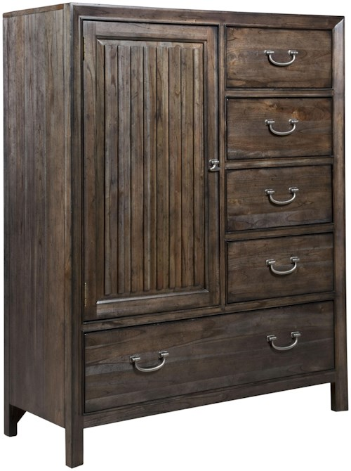 Kincaid Furniture Montreat Contemporary Solid Wood Door Chest with Rustic Grooved Mouldings