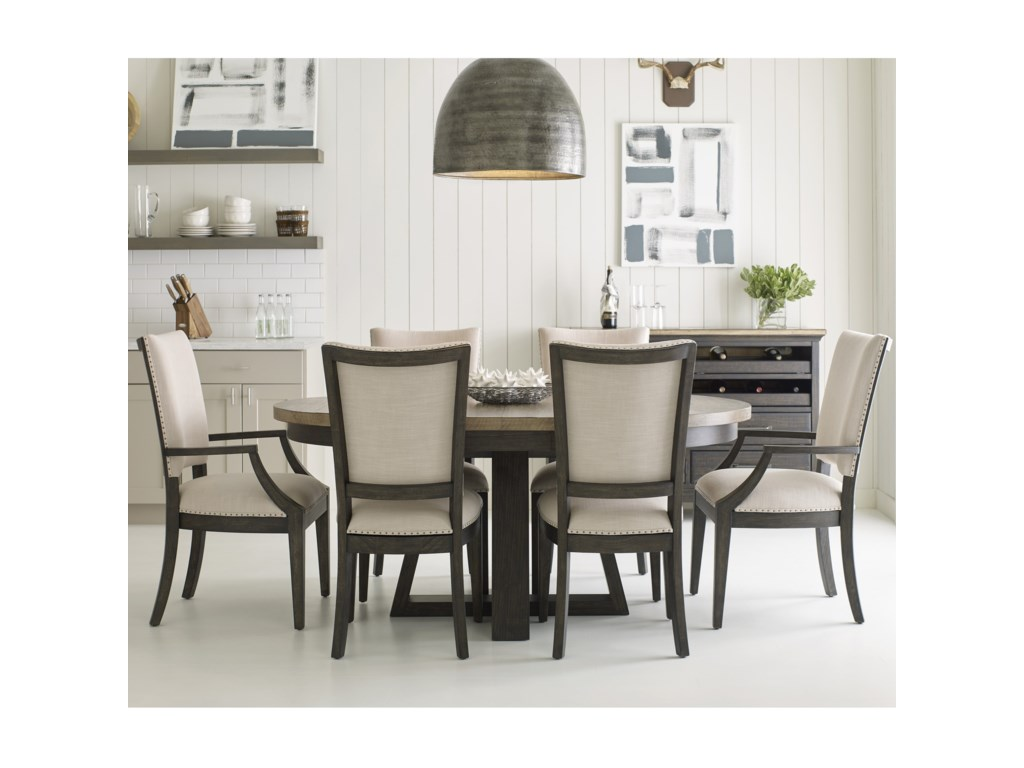 Kincaid Furniture Plank Road7 Pc Dining Set w/ Button Table