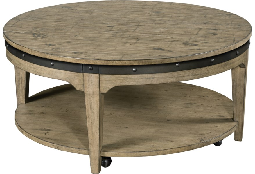 Kincaid Furniture Plank Road Artisans Round Solid Wood Cocktail Table With Hidden Casters Belfort Furniture Cocktail Coffee Tables