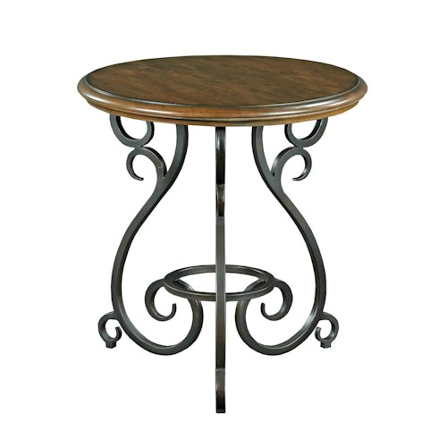 Kincaid Furniture Portolone Traditional Round Accent Table with Old World Cast Iron Base