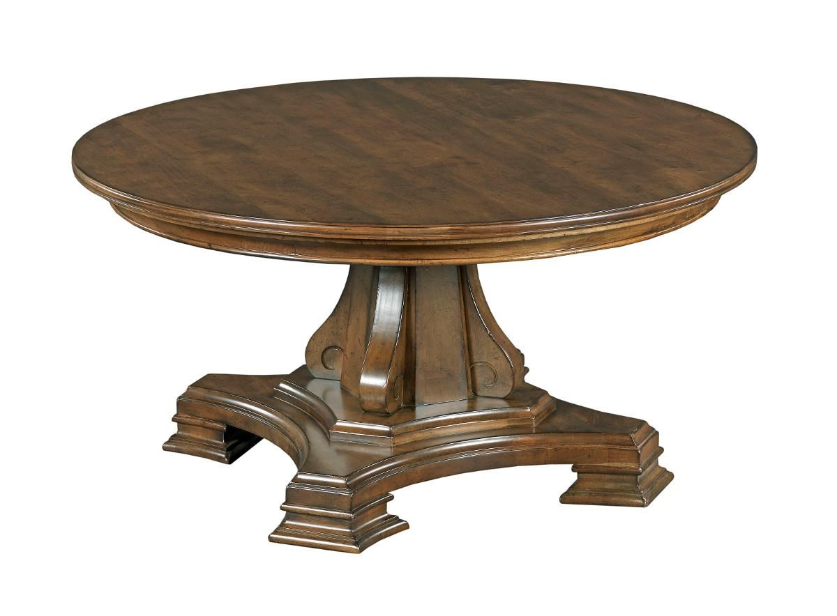 Round Solid Wood Cocktail Table with Tuscan-inspired Carved Pedestal Base