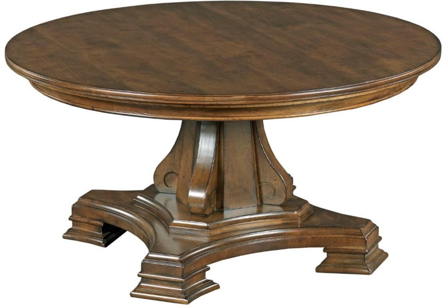 Kincaid Furniture Portolone Round Solid Wood Cocktail Table With Tuscan Inspired Carved Pedestal Base Lindy S Furniture Company Cocktail Coffee Tables
