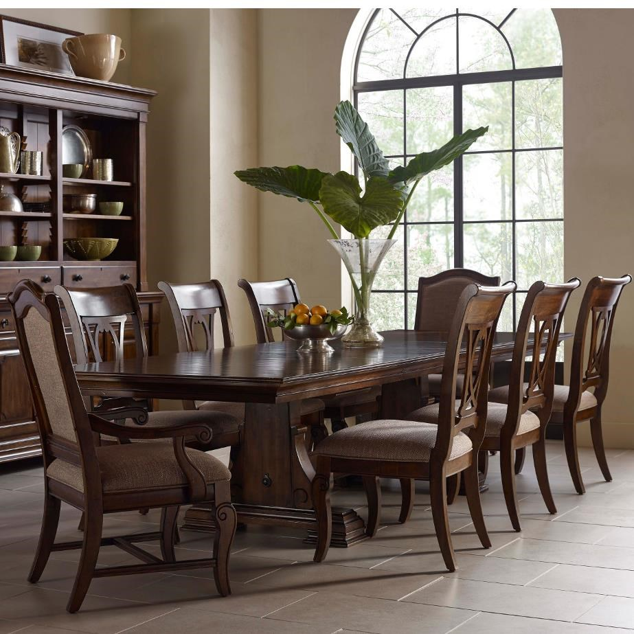Exceptionnel Kincaid Furniture Portolone Nine Piece Trestle Table, Harp Back Chairs, And  Upholstered Host Chairs