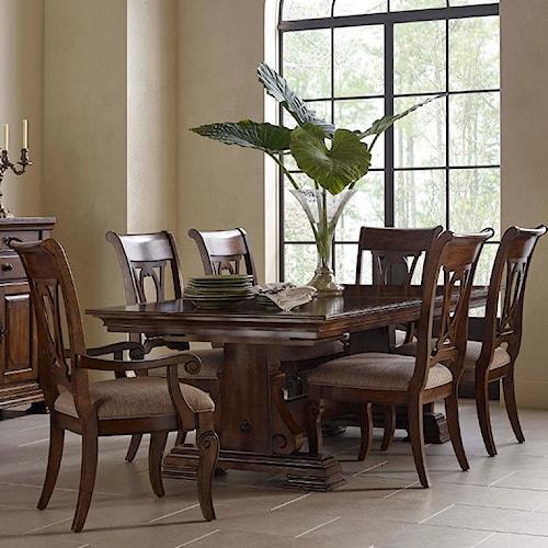 Kincaid Furniture Portolone Seven Piece Trestle Table and Harp Back Chair Set