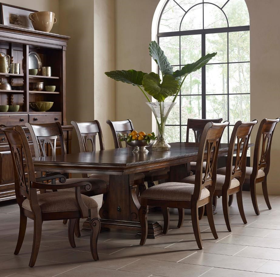 Kincaid Furniture Portolone Nine Piece Trestle Table And Harp Back Chairs  Set
