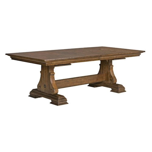 Kincaid Furniture Portolone Portolone Solid Wood Trestle Table with Two Extension Leaves