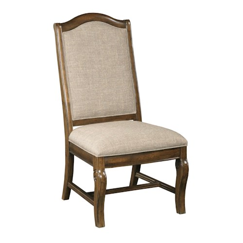 Kincaid Furniture Portolone Traditional Upholstered Side Chair with Scroll-Carved Legs