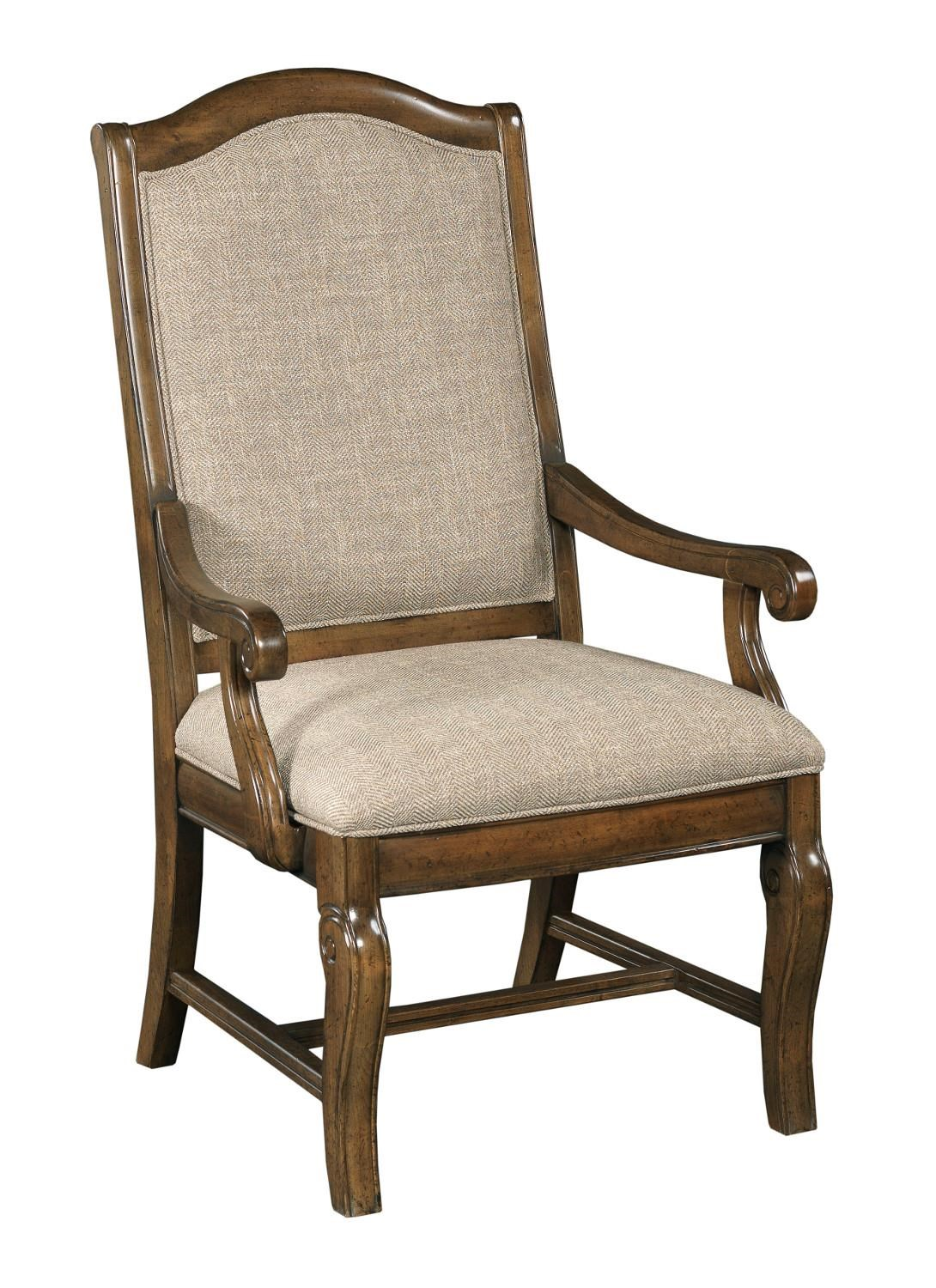 Kincaid Furniture Portolone Traditional Upholstered Arm Chair With  Scroll Carved Legs