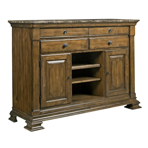 Kincaid Furniture Portolone Portolone Solid Wood Sideboard with Marble Top and Wine Bottle Storage