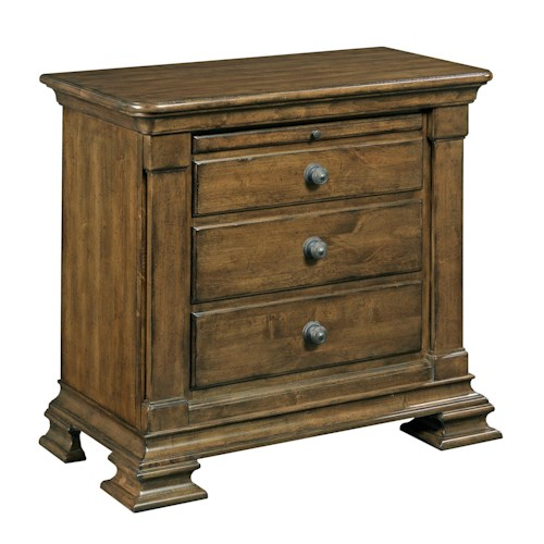 Kincaid Furniture Portolone Traditional Solid Wood Bachelor's Chest with Carved Pilasters and Pull-Out Shelf