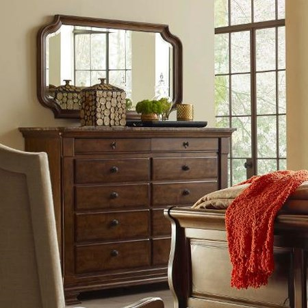 Portolone Bureau and Mirror Set