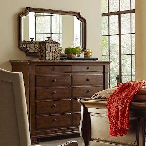 Kincaid Furniture Portolone Portolone Solid Wood Bureau with Marble Top and Mirror Set