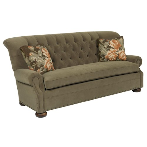 Kincaid Furniture Spencer Traditional 86 Inch Button-Tufted Sofa with Rolled Back and Nailheads