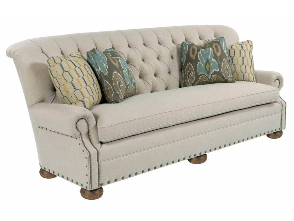 Kincaid Furniture Spencer Traditional 96 Inch On Tufted Sofa With Rolled Back And Nailheads