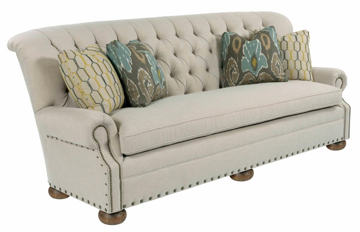 kincaid furniture spencer traditional 96 inch sofa with rolled back and nailheads furniture sofa - Nailhead Sofa