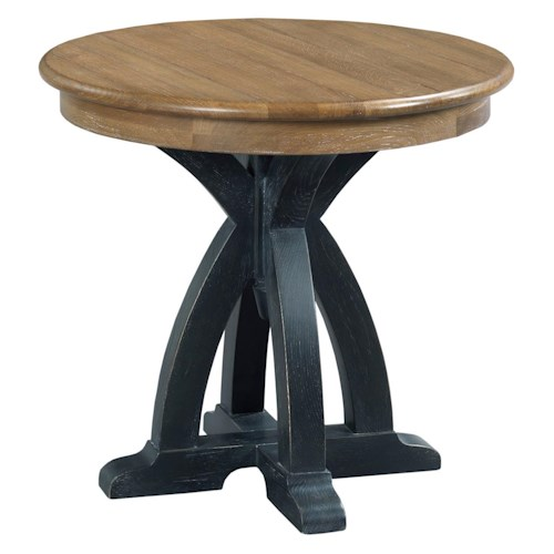 Kincaid Furniture Stone Ridge Transitional Rustic Round Wood End Table